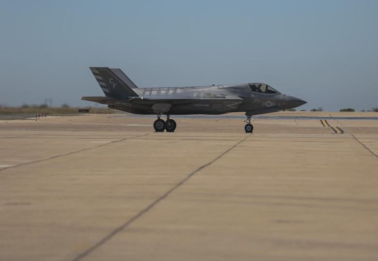 An F-35B Lightning II with Marine Fighter Attack Squadron 211 taxis to the runway during the Marine Division Tactics Course at Marine Corps Air Station Miramar, Calif., June 16. This course gives pilots air-to-air combat experience and the tools to train Marines in their squadrons on the latest tactics. (U.S. Marine Corps photo by Sgt. Kimberlyn Adams/Released)