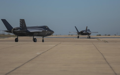 Two F-35B Lightning II with Marine Fighter Attack Squadron 211 taxi to the runway during the Marine Division Tactics Course at Marine Corps Air Station Miramar, Calif., June 16. This course gives pilots air-to-air combat experience and the tools to train Marines in their squadrons on the latest tactics. (U.S. Marine Corps photo by Sgt. Kimberlyn Adams/Released)