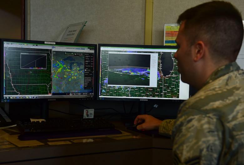 U.S. Air Force Senior Airman Joshua Davis, 1st Operations Support Squadron weather forecaster, monitors radar data for storms at Joint Base Langley-Eustis, Va., May 10, 2017. The weather flight watches radars 24 hours a day, seven days a week to ensure the safety of Air Force assets, personnel and families on the installation. (U.S. Air Force photo/Senior Airman Derek Seifert)