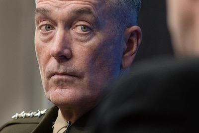 At Brookings Institution, February 23, 2017, General Dunford assessed risk posed by Russia, China, North Korea, Iran, and violent extremism (DOD/D. Myles Cullen)