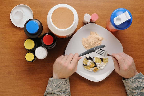 The supplement business is a multi-billion dollar industry that is not currently regulated like conventional food and drug products by the Food and Drug Administration. The use of supplements is designed to add further nutritional value to the diet, not to act as a meal replacement. (U.S. Air Force photo illustration and caption/ Airman 1st Class Daniel Brosam)