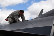 Master Sgt. Dave Bingham, 132d Wing transient alert and fuels, performs maintenance on an F-16C Fighting Falcon aircraft on May 24, 2017, at the 114th Fighter Wing, Sioux Falls, South Dakota. The 132d Wing transient alert volunteers performed training with the South Dakota Air National Guard to remain qualified. (U.S. Air National Guard photo by Senior Master Sgt. Robert P. Shepherd)