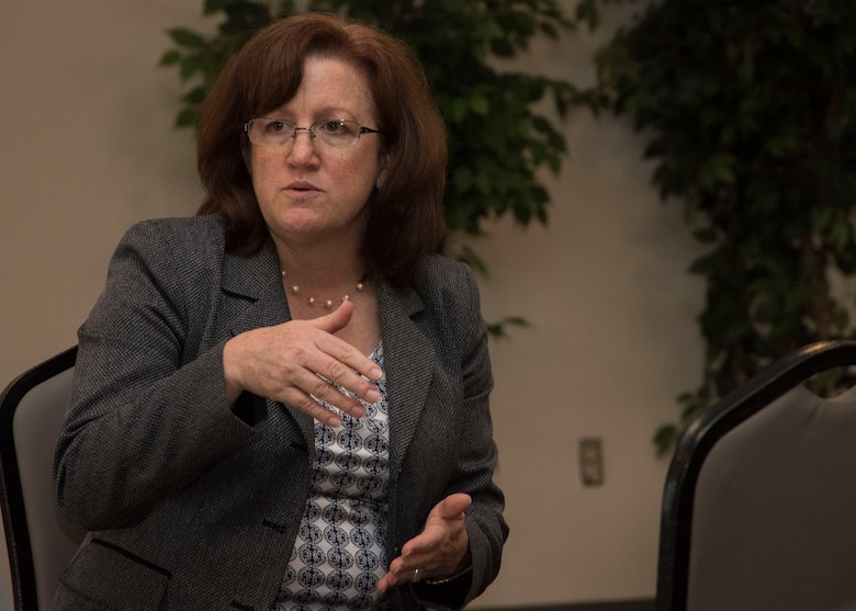 """Christy Nolta, Air Force Staff deputy director, speaks to a group of Air Force civilian employees during a Civilian """"Brown Bag"""" Mentoring event at Joint Base Andrews, Md., June 16, 2017. The quarterly event began in February 2016 to provide additional mentorship and guidance to Air Force civilian employees. (U.S. Air Force photo by Senior Airman Jordyn Fetter)"""