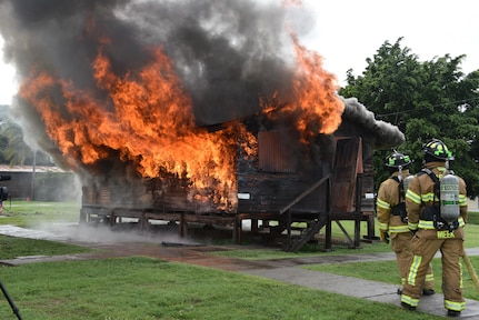 Firefighters from the 612th Air Base Squadron Fire Department, Joint Task Force-Bravo, conducts a live fire training June 16, 2017 on Soto Cano Air Base, to practice their skills and provide awareness to the base population.