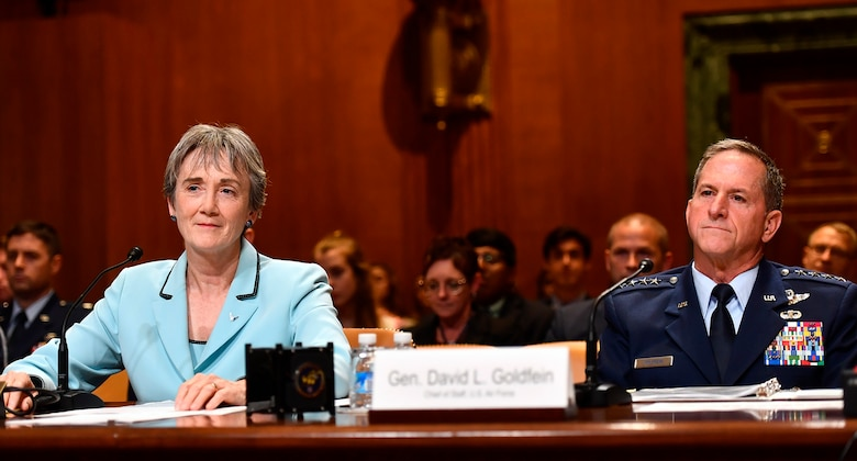 Secretary of the Air Force Heather Wilson and Air Force Chief of Staff Gen. David Goldfein testify before the Senate Appropriations Committee for Defense June 21, 2017, in Washington, D.C.  The subcommittee hearing was held to discuss the fiscal year 2018 budget request for the Air Force. (U.S. Air Force photo/Scott M. Ash)