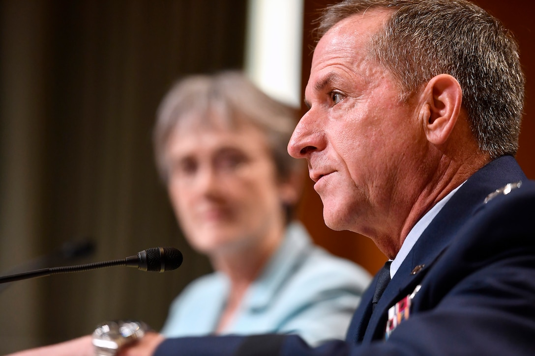 Air Force Chief of Staff Gen. David Goldfein testifies before the Senate Appropriations Committee for Defense June 21, 2017, in Washington, D.C. Secretary of the Air Force Heather Wilson joined Goldfein before the subcommittee's hearing to discuss the fiscal year 2018 budget request for the Air Force.  (U.S. Air Force photo/Scott M. Ash)