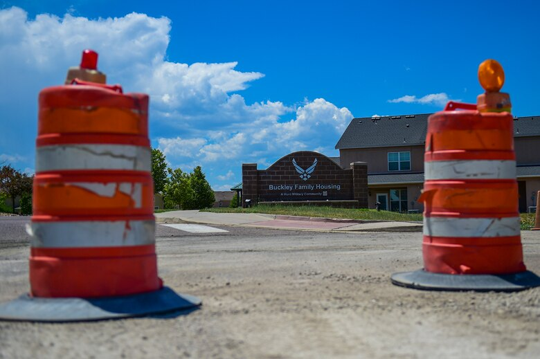 Contractors begin reconstruction on W. Breckenridge Street, at the entrance of base housing on Buckley Air Force Base, Colo. The project includes road realignment and installing a pedestrian crosswalk. (U.S. Air Force photo by Airman Jacob Deatherage/Released)