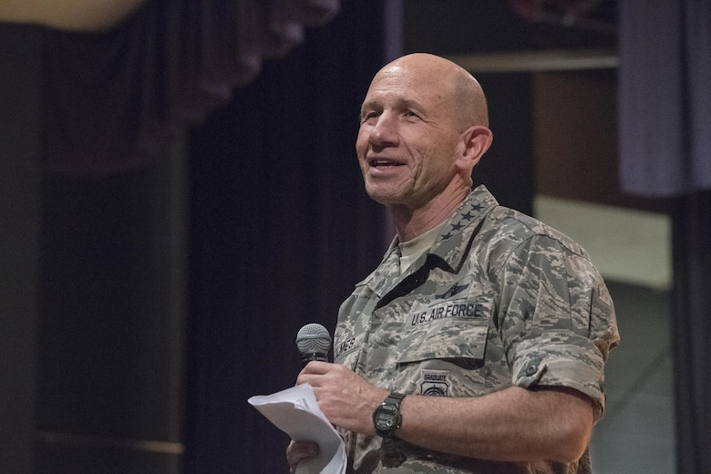 Gen. Mike Holmes, commander of Air Combat Command, discusses deployments, readiness, and training at an all call at Joint Base Langley-Eustis, Va., June 20, 2017. He highlighted a program called Preservation of the Force and Families, which is designed to address the physical, mental, social and spiritual needs of deployed Service members and their families. (U.S. Air Force photo by Staff Sgt. Nick Wilson)