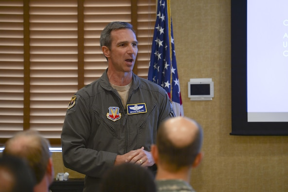 Brig. Gen. Bryan Radliff, 12th Air Force (Air Forces Southern) mobilization assistant to the commander, gives opening remarks during a speaker series event at Davis-Monthan Air Force Base, Ariz., June 19, 2017, for the 12th Air Force (Air Forces Southern) Academic Outreach Program with the University of Arizona. The intent of the speaker series is to facilitate the exchange ideas between government and academic institutions while fostering collaborative discussions about global issues. (U.S. Air Force photo by Staff Sgt. Angela Ruiz)