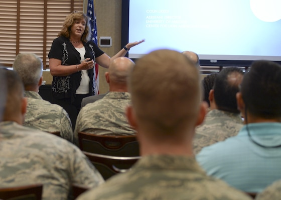 Dr. Melondy Buckner, University of Arizona South interim dean, speaks during a speaker series event at Davis-Monthan Air Force Base, Ariz., June 19, 2017, for the 12th Air Force (Air Forces Southern) Academic Outreach Program with the University of Arizona. The intent of the speaker series is to facilitate the exchange ideas between government and academic institutions while fostering collaborative discussions about global issues.  This 12th Air Force (Air Forces Southern) Academic Outreach Program is modeled after U.S Southern Command's partnership with Florida International University. (U.S. Air Force photo by Staff Sgt. Angela Ruiz)