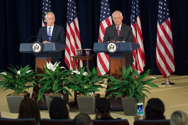 Defense Secretary Jim Mattis and Secretary of State Rex Tillerson address reporters following a U.S.-China diplomatic and security dialogue at the State Department in Washington, D.C., June 21, 2017. The dialogue is intended to broaden communication and cooperation between both countries. DoD photo by Army Sgt. Amber I. Smith