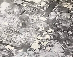 The aftermath of an ISIS atrocity destroying the al Nuri mosque in Mosul, Iraq.