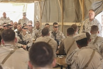 Commandant of the Marine Corps Gen. Robert B. Neller speaks to Marines and Sailors with Task Force Southwest at Camp Shorab Afghanistan, June 20, 2017. Neller met and spoke with the unit's Marines and Sailors, reaffirming the Marine Corps' commitment to the Task Force's mission as the main advisory element in Helmand Province. (U.S. Marine Corps photo by Sgt. Lucas Hopkins)