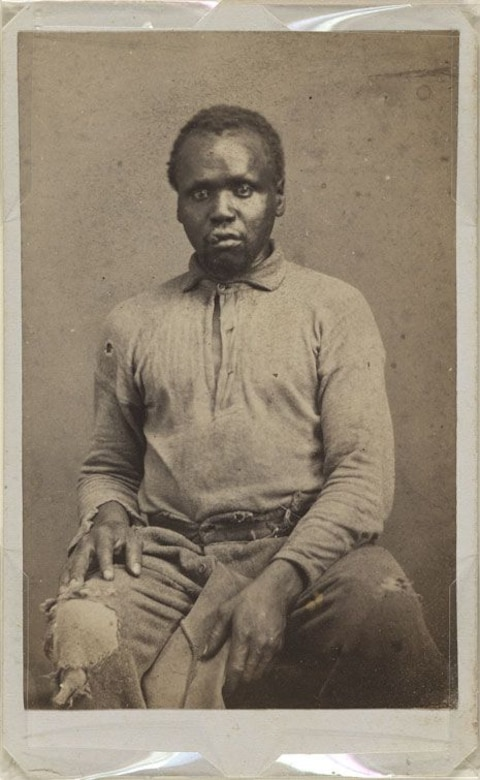 "Badly shaken but unscathed by the mine explosion, Abraham became known as the man who was ""blown to freedom."" Taken shortly after the siege, Abraham's portrait would later be displayed in the National Portrait Gallery in Washington, D.C."