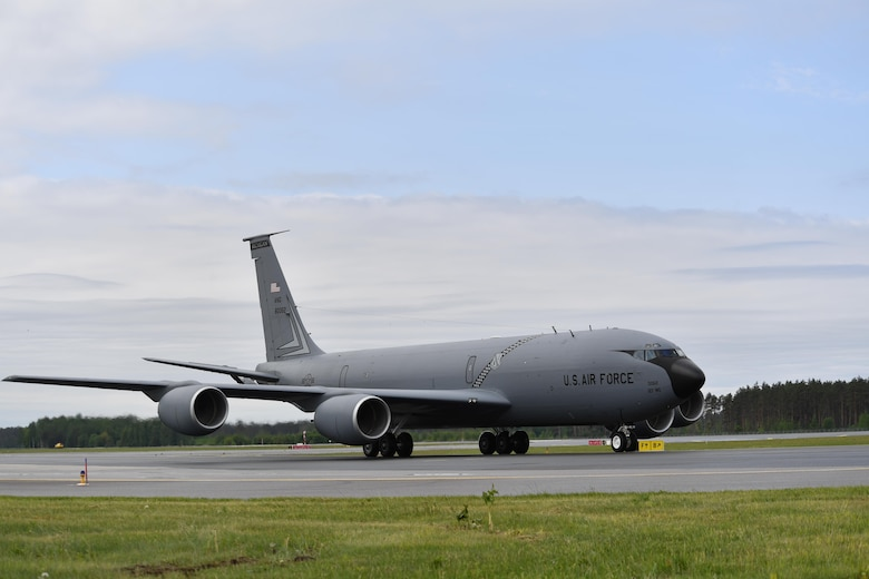 A KC-135 Stratotanker from the 127th Air Refueling Squadron, Selfridge Air National Guard Base, Michigan, taxis to its parking spot after landing at Riga International Airport, Latvia, June 4, 2017. The KC-135's arrival marked the beginning of Air Force assets in Latvia for exercise Saber Strike 17. The exercise continues to increase participating nations' capacities to conduct a full spectrum of military operations. (U.S Air Force photo by Senior Airman Tryphena Mayhugh)