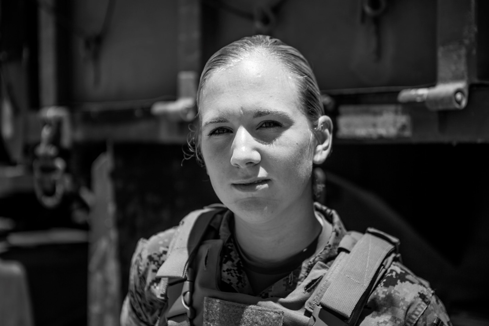 U.S. Marine Pfc. Heather Bartulewicz, poses beside Medium Tactical Vehicle Replacement MK23 truck on Camp Pendleton, Calif., June 20, 2017. Motor Transport operators maintain and operate both commercial and tactical vehicles and are responsible for the transportation of everything from supplies and resources, to Marines and their equipment. (U.S. Marine Corps photo by Lance Cpl. Joseph Sorci)