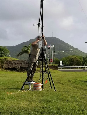 Tech. Sgt. Justin Warner, 271st Combat Communications Squadron, troubleshoots a wireless node as part of the 2017 U.S. Northern Command and National Guard Bureau-sponsored Vigilant Guard Exercise, held in the U.S. Virgin Islands. The government of the territory of the Virgin Islands, as well as active-duty and national guardsmen from across the U.S., participated in this domestic support operation, including two teams from the Pennsylvania Air National Guard. (U.S. Air National Guard photo by Tech. Sgt. Mickey Shaffer/Released)