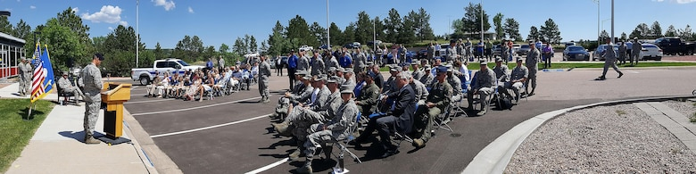 Lt. Col. Marcus Corbett, 10th Security Forces Squadron commander, speaks to the crowd at the 10th SFS change of command ceremony June 21, 2017, at the U.S. Air Force Academy. (U.S. Air Force photo/Mike Kaplan)