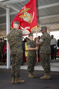Major General Lori Reynolds, commanding general, Marine Corps Cyber Command, awards the Legion of Merit medal to Colonel Julie Nethercot, outgoing commanding officer of Officer Candidate School, for her efforts and achievements while in command at her change of command ceremony aboard the OCS parade deck, June 3, 2017.