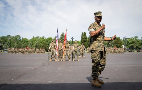 Incoming Commanding Officer of Officer Candidate School (OCS), Colonel Ahmed T. Williamson, addresses the audience during his change of command ceremony aboard OCS parade deck, June 3, 2017.