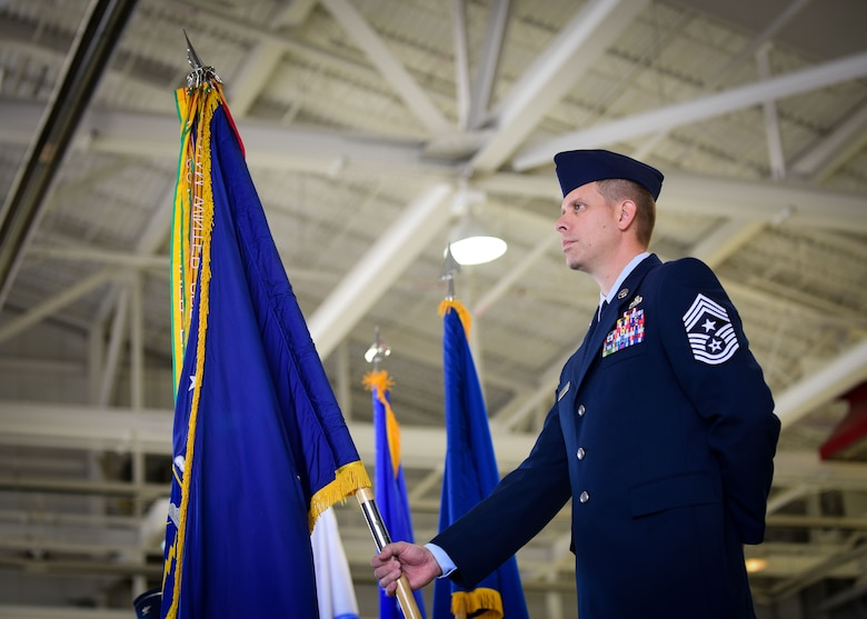U.S. Air Force Chief Master Sgt. Kennon Arnold, 633rd Air Base Wing vice command chief, participates in the 633rd ABW change of command ceremony at Joint Base Langley-Eustis, Va., June 22, 2017. Col. Sean Tyler assumed command of the unit, which provides installation support to more than 18,000 Airmen, Soldiers and civilians across two major command headquarters, 13 operational wings and Army brigades, and more than 20 associate units. (U.S. Air Force photo/Staff Sgt. Areca T. Bell)