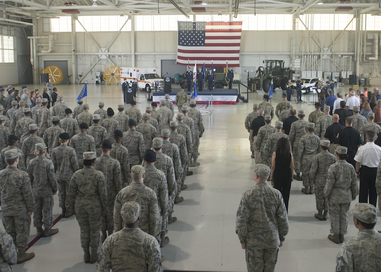 U.S. service members attend the 633rd Air Base Wing change of command ceremony at Joint Base Langley-Eustis, Va., June 22, 2017. Col. Sean Tyler assumed command of the wing from Col. Caroline Miller who led the wing for two years. (U.S. Air Force photo/Staff Sgt. R. Alex Durbin)