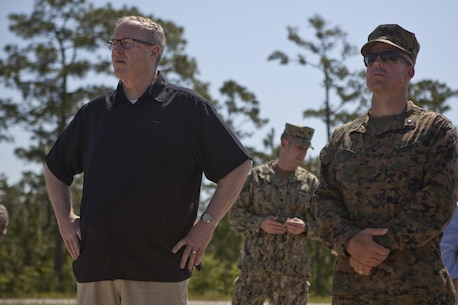 The Deputy Secretary of Defense, Honorable Mr. Robert O. Work, left, speaks with Lt. Col. Theodore Bethea, commanding officer of Advanced Infantry Training Battalion-East, School of Infantry- East, at Camp Lejeune, N.C., June 2, 2017. Marines from the School of Infantry demonstrated a live fire exercise as a part of training to diplomats and military personnel during their visit to the base.  (U.S. Marine Corps photo by Lance Cpl. Tyler Pender)