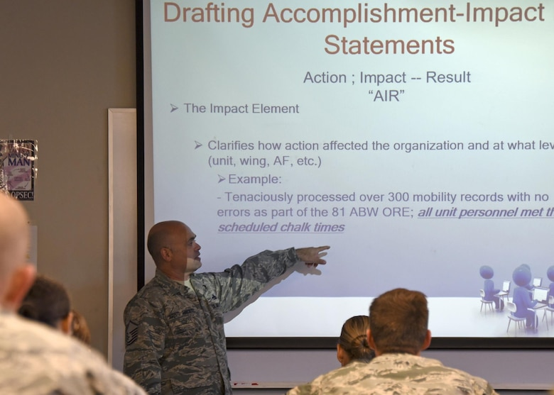 Master Sgt. Jose Agosto-Gonzalez, instructor and curriculum designer, I.G. Brown Training and Education Center, teaches bullet writing to Airmen at the Maryland Air National Guard's 175th Wing, June 20, 2017, in Middle River, Md. The two-hour class teaches the fundamental dynamics on how to write an effective bullet statement for enlisted performance reports and officer performance reports. (U.S. Air National Guard photo by Senior Airman Enjoli Saunders)