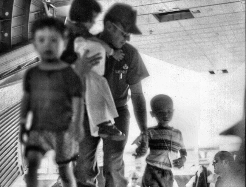 In 1975, the first all Reserve aircrew, commanded by Capt. John E. Tomkins, assisted in the evacuation of refugees from Saigon, South Vietnam. During a 17-day period, a total of five evacuation flights were flown from Saigon to the Philippines and Guam.    (Air Force File Photo)