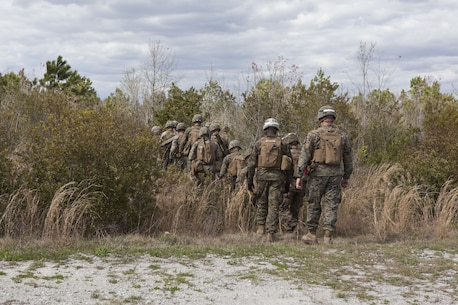U.S. Marines assigned to Advanced Infantry Training Battalion the School of Infantry-East (SOI-E), begin a combined arms exercise at Camp Lejeune, N.C. April 7, 2017. The mission of SOI-E is to train entry-level and advanced level Marines in the skills required of an infantry Marine for the operating forces. (U.S. Marine Corps photo by Lance Cpl. Tyler Pender)