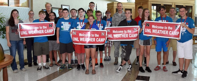 University of Nebraska-Lincoln Weather Camp attendees visited the 557th Weather Wing where they received a mission-brief and toured the Space Weather Operations Center and High-Performance Computing Center at Offutt Air Force Base, Neb. The Weather Camp is open to students entering grades 10 through 12 and is designed to give attendees insight into how scientists observe and forecast the weather as well as monitor the changing climate. The 557th Weather Wing is an Air Combat Command unit under 12th Air Force. It is the only weather wing in the U.S. Air Force and is comprised of more than 1,450 active duty, reserve, civilian and contract personnel. Its mission is to maximize America's power through the exploitation of timely, accurate and relevant weather information; anytime, everywhere.