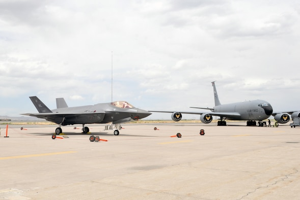 An F-35 Lightning II from Hill Air Force Base, Utah sits on the flightline at Roland R. Wright Air National Guard Base in Salt Lake City. The F-35 crew chiefs provided training to several members of the 151st Maintenance Group so they can assist with landing procedures for the aircraft if one is rerouted to the guard base due to a runway closure at Hill. (U.S. Air National Guard photo by Tech. Sgt. Annie Edwards)