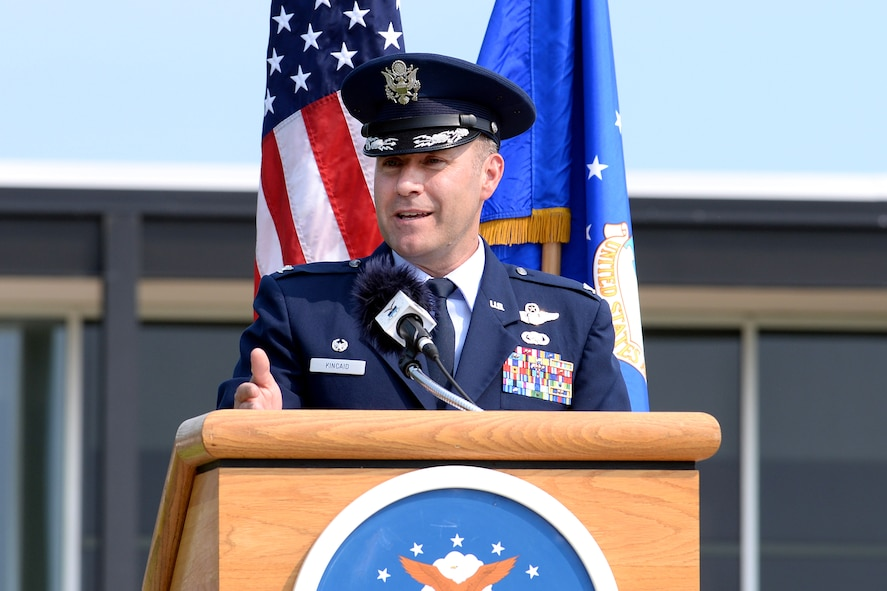 Col. David Kincaid speaks in front of the 10th Air Base Wing headquarters building after taking command of the 10th Mission Support Group June 22, 2017 at the U.S. Air Force Academy. (U.S. Air Force photo/Jason Gutierrez)