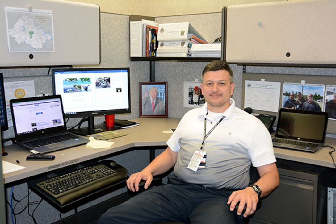 Donald Bartlett, criminal intelligence analyst, Security and Emergency Services Division, DLA Installation Support Richmond, DSCR, gathers information from classified and unclassified reporting networks and assesses threats to DSCR, Virginia.