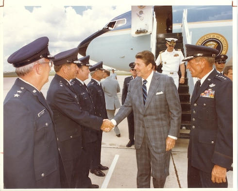 President Ronald Reagan arrived at then-Kelly Air Force Base, San Antonio,Texas Nov. 14, 1981 seeking a short reprieve from the strains of Washington, D.C.