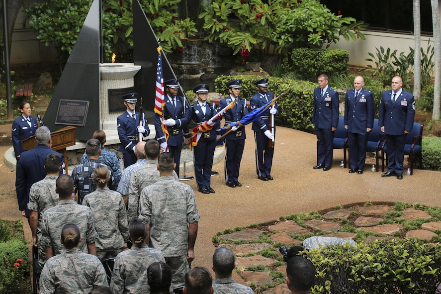 Honor Guard members post the colors during a Purple Heart ceremony for Senior Master Sgt. Jason Ronsse, 17th Operational Weather operations superintendent, at Joint Base Pearl Harbor-Hickam, Hawaii on June 20, 2017. Ronsse was injured during a in-direct fire incident while deployed to Bagram Air Base, Afghanistan.