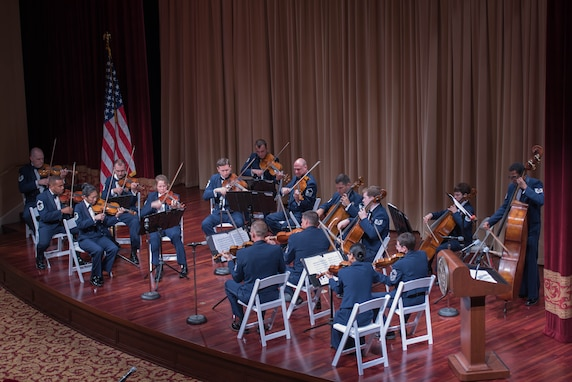 In honor of the John F. Kennedy 100th birthday celebration the Air Force Strings performed June 15 at the National Archives Building McGowan Theater performing selections performed at the Kennedy White House. (U.S. Air Force photos/TSgt Grant Langford/released)