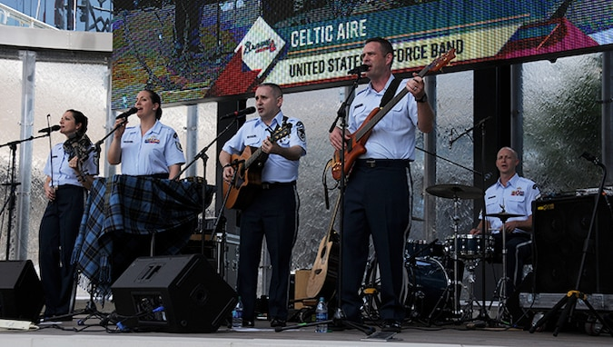U.S. Air Force Band's Celtic Aire performs a pre-game concert at SunTrust Park in Atlanta, Georgia May 20, 2017.