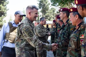 KABUL, Afghanistan (June 20, 2017) – General John W. Nicholson, Resolute Support Mission commander, visited the Afghan National Army's New Commando School June 19 with a message of solidarity and brotherhood.