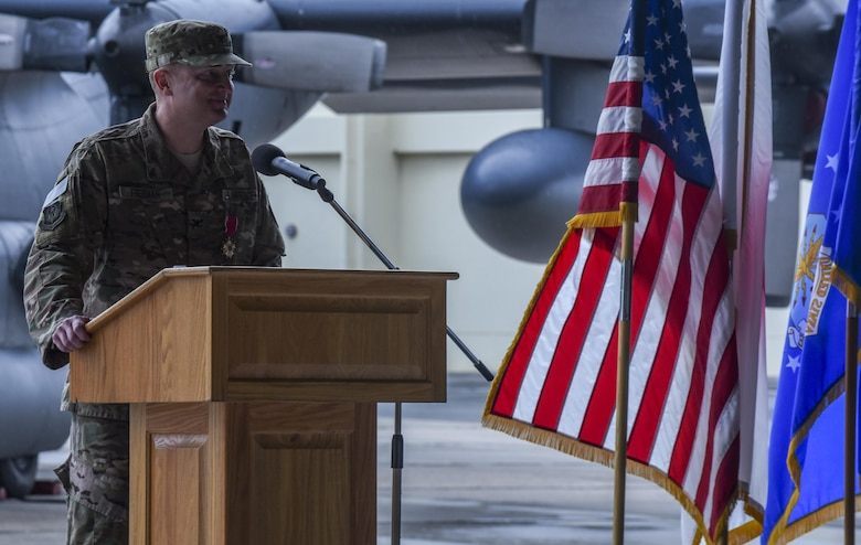 U.S. Air Force Col. William Freeman, outgoing commander of the 353rd Special Operations Group, delivers his last speech to the Air Commandos of the 353rd SOG during a change of command ceremony, June 19, 2017 at Kadena Air Base, Japan. Freeman leaves Kadena for an assignment at AFSOC Headquarters at Hurlburt Field, Fla. (U.S. Air Force photo by Senior Airman Nicholas Emerick)