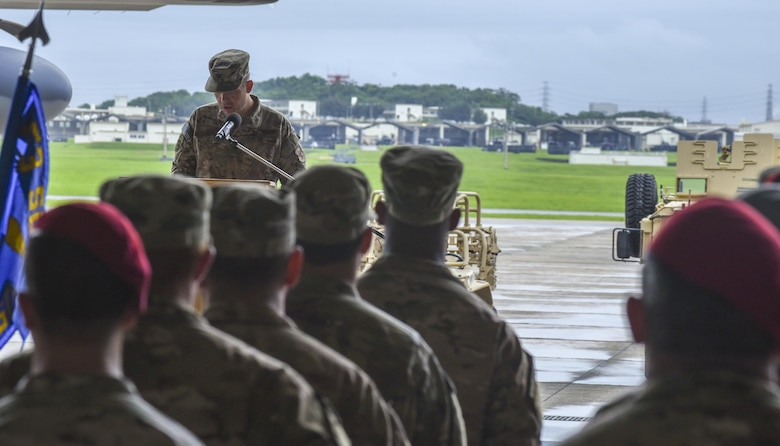 U.S. Air Force Col. Jason Kirby, incoming commander of the 353rd Special Operations Group, delivers his first speech to the Air Commandos of the 353rd SOG during a change of command ceremony, June 19, 2017 at Kadena Air Base, Japan. Kirby now commands more than 850 Airmen who make up the only Air Force special operations unit in the Pacific. (U.S. Air Force photo by Senior Airman Nicholas Emerick)
