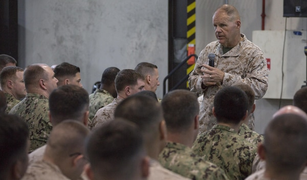 Commandant of the Marine Corps Gen. Robert B. Neller speaks to Marines with Special Purpose Marine Air Ground Task Force Crisis Response Central Command at Naval Support Activity, Manama, Bahrain, June 21, 2017. Neller visited to speak with Marines about the current state of the Corps and answer their questions. (U.S. Marine Corps photo by Cpl. Samantha K. Braun)
