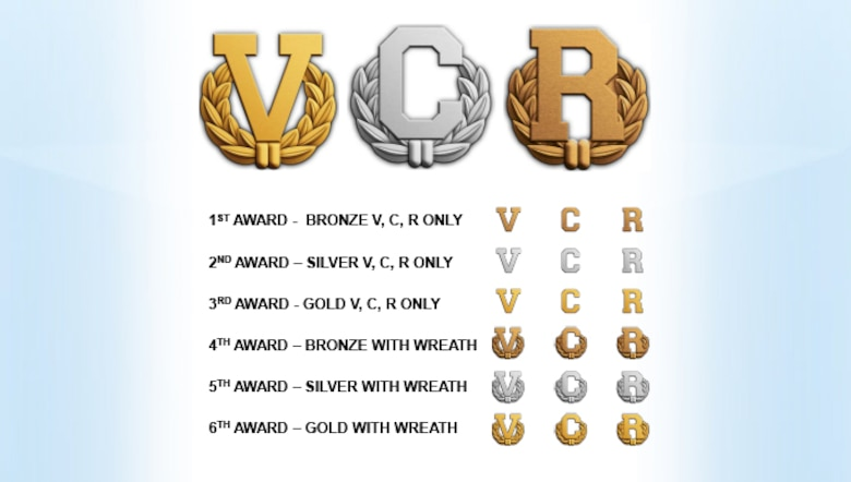 "Air Force officials released criteria for the new ""V"", ""C"" and ""R"" devices, following the secretary of defense's Jan. 7, 2016, authorization. (U.S. Air Force graphic)"