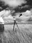 Dr. Donald Albert conducts an AH-64 Apache Helicopter Acoustic Survey, Fort Hood, Texas. (1st Place, Science - 2017 CRREL Photo Contest)