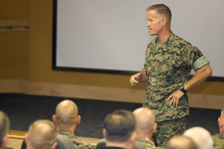 Maj. Gen. Carl E. Mundy III, commander, U.S. Marine Corps Forces, Special Operations Command, addresses the audience during a ceremony June 21, 2017 aboard Camp Lejeune, N.C. The Marine Special Operations School was redesignated as the Marine Raider Training Center, reincarnating the name used for the training facility that produced Marine Raiders in World War II and which was disbanded in 1944.  (Marine Corps photo by Sgt. Scott Achtemeier, released)