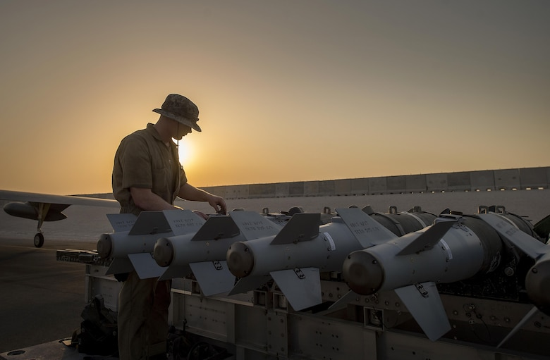 A munitions technician, assigned the 23rd Expeditionary Aircraft Maintenance Unit, prepares to load munitions on a B-52 Stratofortress assigned to the 23rd Expeditionary Bomb Squadron at an undisclosed location in Southwest Asia, June 15, 2017. The 23rd EAMU provided the 400th consecutive sortie without a maintenance cancellation on the day the 23rd EBS celebrated the 100th anniversary of the unit. (U.S. Air Force photo/ Staff Sgt. Trevor T. McBride)