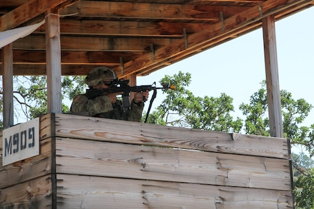 U.S. Army Reserve Spc. Antonio Garcia of the 341st Military Police Company, 200th Military Police Command, engages an enemy with his M4 carbine during an attack on the units patrol base during WAREX 17-03 at Fort Hunter Liggett, Calif., June 19, 2017. More than 3000 U.S. Army Reserve soldiers are participating in the 84th Training Command's Warrior Exercise (WAREX) 19-17-03 at Fort Hunter Liggett, Calif.; the WAREX is a large-scale collective training platform to generate capable, lethal and combat ready forces. U.S. Army photo by Capt. Troy Preston