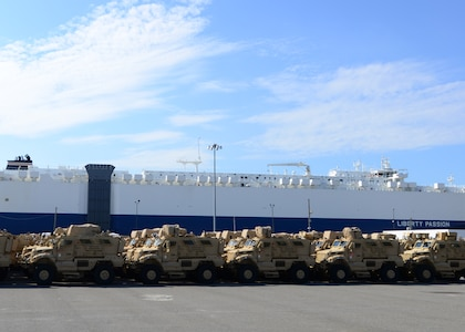 More than 200 pieces of equipment were loaded onto the Liberty Maritime Corporation's ship Liberty Passion, June 15, 2017, at Joint Base Charleston, S.C. – Weapons Station. Members from the 841st Transportation Battalion staged, processed and configured the equipment in support of Marine Corps pre-positioning and staging across Europe and Asia. The 841st TB conducts surface distribution and port clearance operations in support of Geographic Combatant Commanders and deployment readiness.