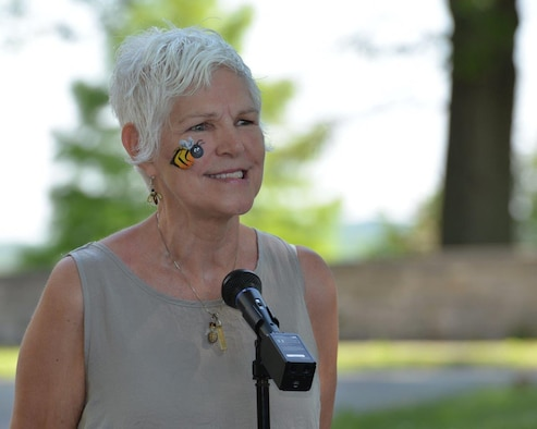 Phyllis Stiles, founder and director of Bee City USA, speaks at the Pollinator Expo held at the Wright Brothers Memorial located outside Wright-Patterson Air Force Base, Ohio, June 21. Stiles was named the North American Pollinator Protection Campaign's United States' Pollinator Advocate of the Year for 2015. (U.S. Air Force photo/Michelle Gigante)