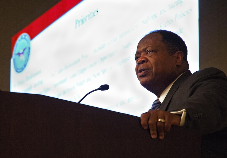 Keynote speaker Clarence A. Johnson, Diversity Management and Equal Opportunity director, gives a speech on building a better tomorrow in the Air Force during the 2017 Equal Opportunity Worldwide Training Workshop at Joint Base Andrews, Md., June 12, 2017. The event brought together EO professionals from the Air Force Reserve, Air National Guard, Air Force active duty and U.S. government. (U.S. Air Force photo by Christopher Hurd)